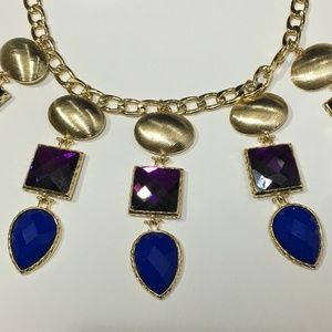 Jadore Bijoux Gold Purple Blue Statement Necklace